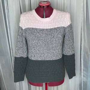 Croft & Barrow  sweater cabled striped pink gray